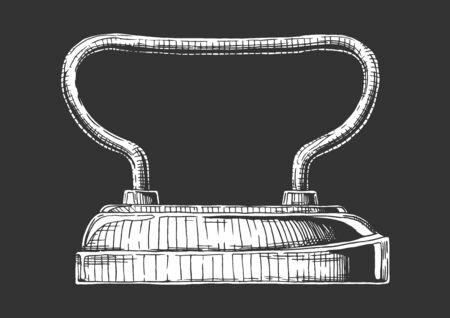 Vector hand drawn illustration of sad iron. Isolated on black background. Side view. Ilustracja