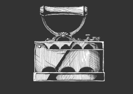 Vintage сlothes iron. Vector hand drawn illustration of charcoal iron. Isolated on black background. Side view.