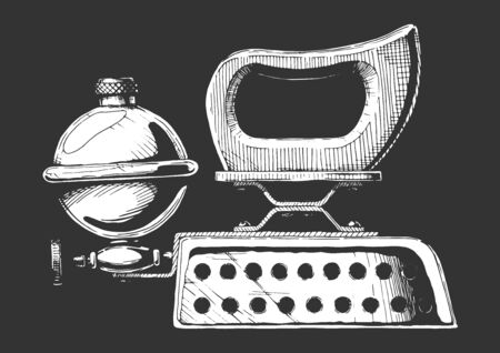 Vintage сlothes iron. Vector hand drawn illustration of petrol iron. Isolated on black background. Side view.
