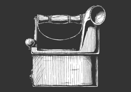 Vintage сlothes iron. Vector hand drawn illustration of charcoal iron with chimney. Isolated on black background. Side view. Ilustracja