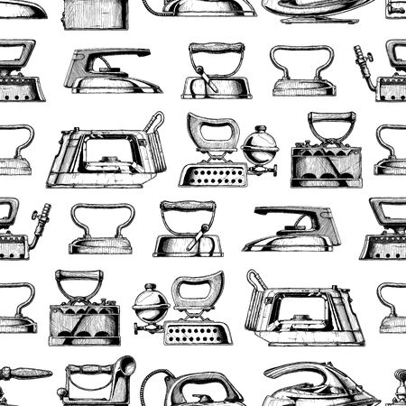 Seamless pattern with different clothes iron. Vector illustration in vintage engraved style.