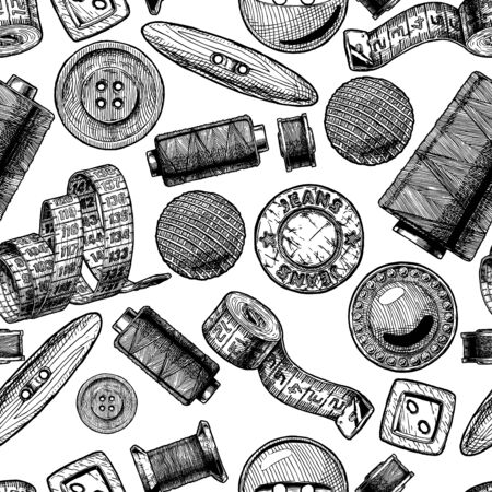 Seamless pattern with different tailors objects. Vector illustration in vintage engraved style.