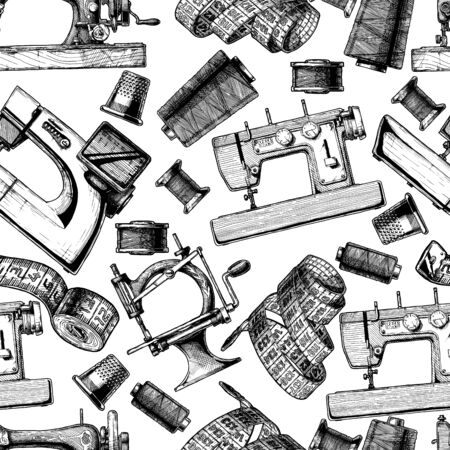 Seamless black-and-white pattern with sewing machine. Vector illustration in vintage engraved style on white background. Ilustracja