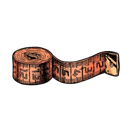Vector hand drawn illustration of tape measure in vintage engraved style. isolated on white background. Ilustracja