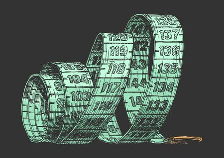 Vector hand drawn illustration of tape measure in vintage engraved style. isolated on black background.  Ilustracja