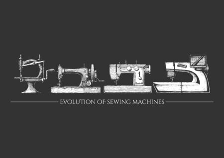 Vector hand drawn illustration of the sewing machine evolution set. From 19th century vintage sewing machines to a modern computerized. isolated on black background. Side view.