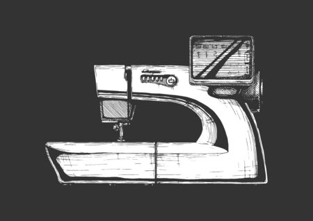 Vector hand drawn illustration of the modern computerized sewing machine. isolated on black background. Side view. Ilustracja