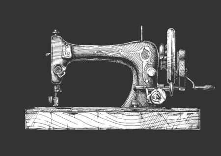 Vector hand drawn illustration of the vintage sewing machine. isolated on black background. Side view.