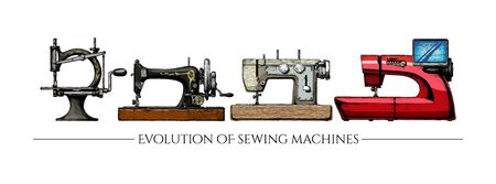 Vector hand drawn illustration of the sewing machine evolution set. From 19th century vintage sewing machines to a modern computerized. isolated on white background. Side view. Ilustracja