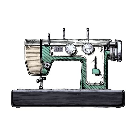 Vector hand drawn illustration of the vintage sewing machine. isolated on white background. Side view. Ilustracja