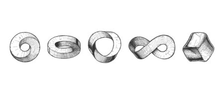 Vector hand drawn set of Mobius strip and impossible ring. Illustration in vintage engraved style. Isolated on white background.