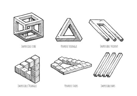 Impossible object set. Irrational cube, penrose triangle and stairs, devils tuning fork, impossible triangle, three or four bar optical illusion. Illustration in vintage engraved style. Isolated on white background.