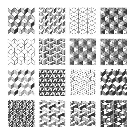 Set of 16 hand drawn monochrome geometrical patterns with optical illusion. Seamlessly tiling.