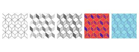 Vector hand drawn illustration set of rhombille tiling. Seamless pattern.