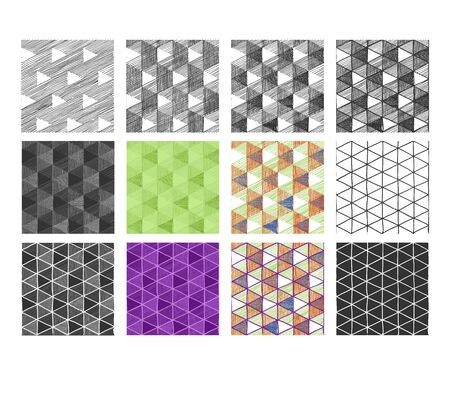 Seamless pattern set with Necker cube optical illusion.