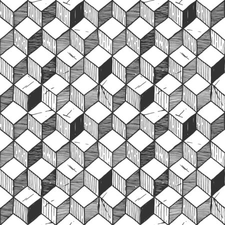 Vector hand drawn illustration of rhombille tiling. Seamless pattern.