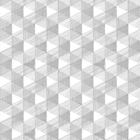 Seamless pattern with Necker cube optical illusion. Rhombille seamlessly tiling.