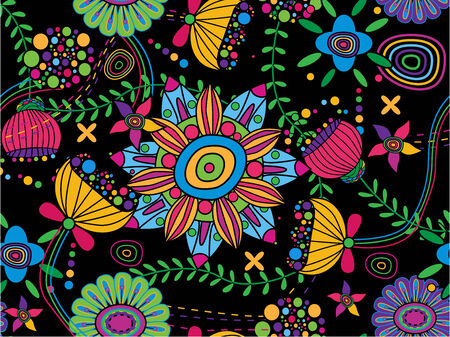 60s hippie: Seamless floral background Illustration