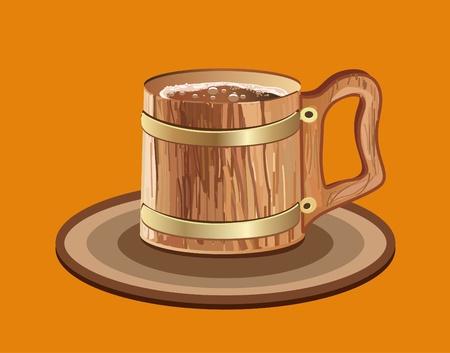 Woooden mug of beer.  Vector clipart Vector