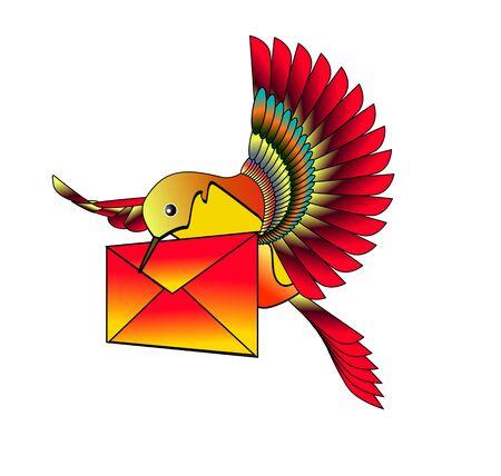 hummingbird with letter.  Vector illustration Vector