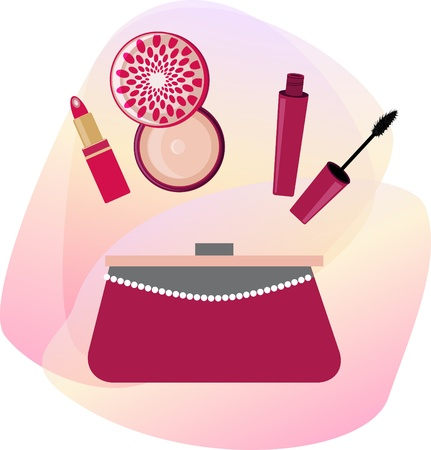 make up applying: Cosmetics and women handbag. Vector illustration