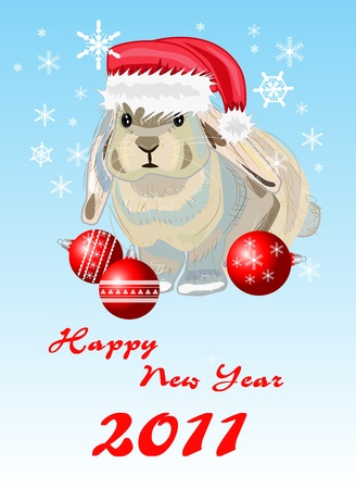 Rabbit. new year card Stock Vector - 8397538