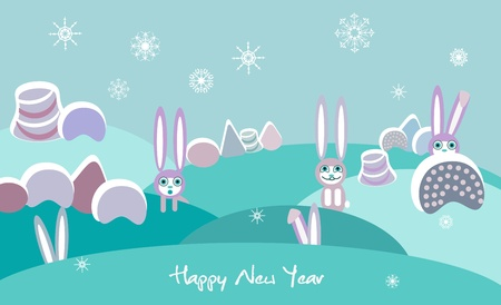 Winter vector landscape with rabbits Vector