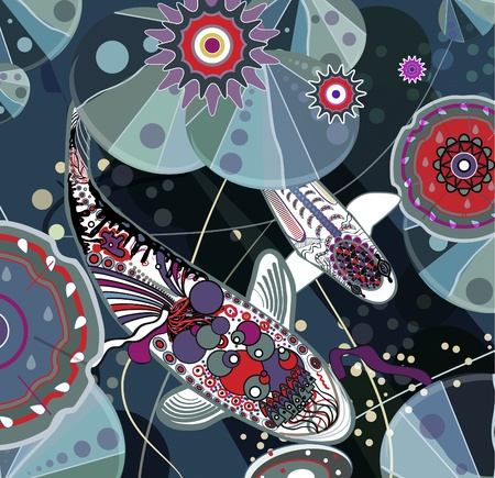 sea weed: Koi fish. illustration Illustration