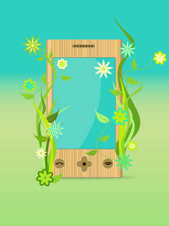 Save technology. Ecological mobile with plant. illustration Stock Vector - 8488868