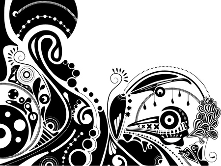 black-and-white psychedelic illustration with train Vector