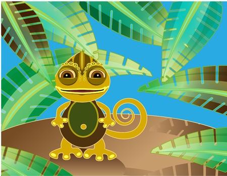 chameleon lizard: Camaleonte divertente. Illustrazione vettoriale