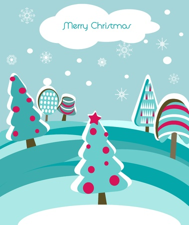 Christmas card with firs Vector