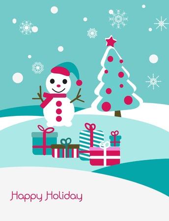 Christmas vector card with snowman and fir Vector