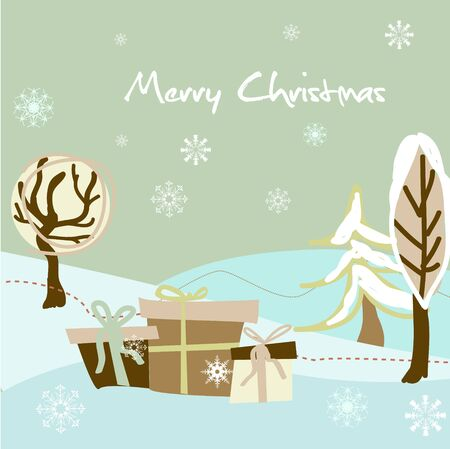 Christmas vector card with abstract fir Stock Vector - 8496840