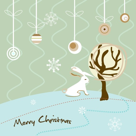 ration: Christmas vector card with abstract fir Illustration