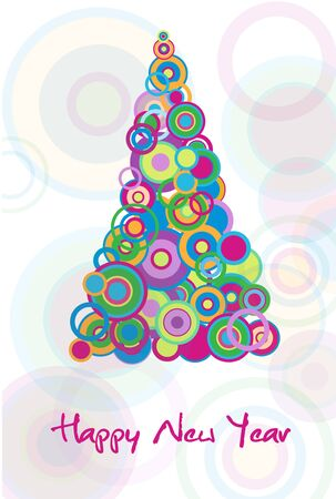 New year card with colorful tree out of ball Stock Vector - 8496832