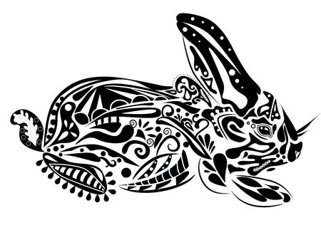 year of rabbit: new year rabbit. Vector illustration in psychedelic style