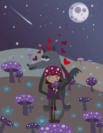 Little Red Riding Hood and wolf. Love. Night scene with mushrooms Vector