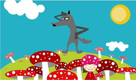 red riding hood: Girl among mushroom and gray wolf