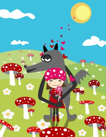 cartoon little red riding hood:  Little Red Riding Hood and wolf. Love. Day scene with mushrooms Illustration