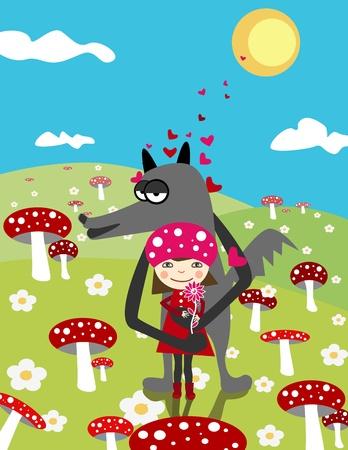 little red riding hood:  Little Red Riding Hood e wolf. Amore. Scena di giorno con i funghi