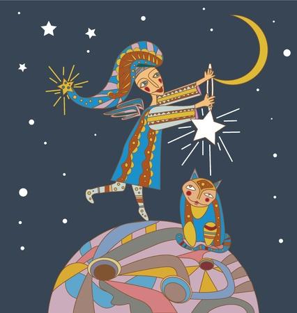 fairy story: Angel e il gatto. Illustrazione vettoriale
