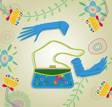 Handbag and gloves. Vector illustration Vector