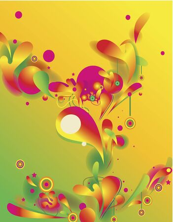 Abstract vector composition with psychedelic colorful shapes Vector