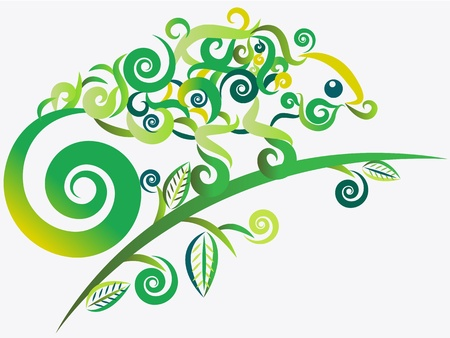 chameleon: Abstract green chameleon vector  in tattoo style