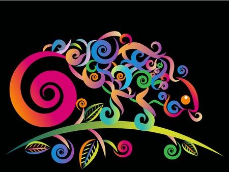 maories: Vector de camale�n colorido abstracto en estilo de tatuaje