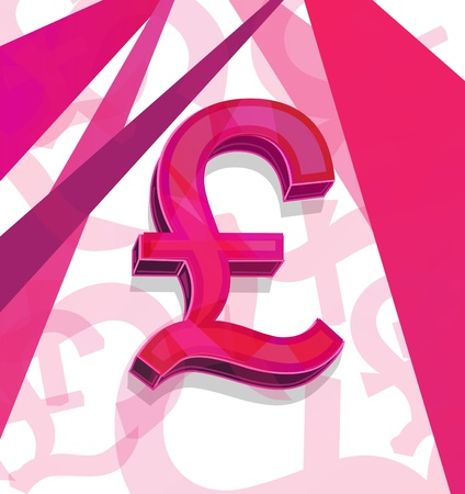 sterling: Pink pound sterling. Vector clip-art illustration Illustration