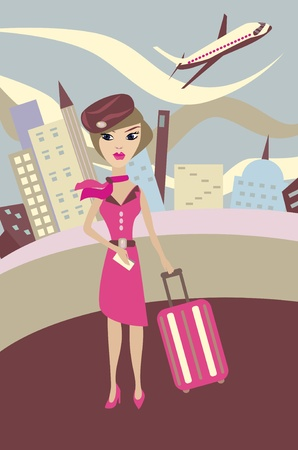 haired: flight attendant. Vector illustration Illustration