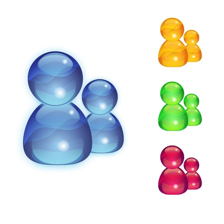 Multicolor contact glass icons set i n blue, yellow, pink color