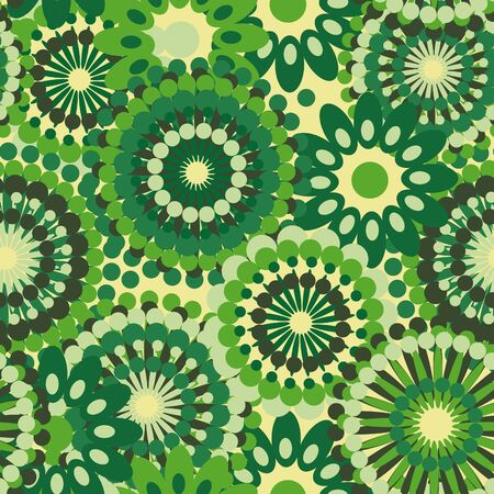 Fashionable green seamless texture with abstract flowers Vector
